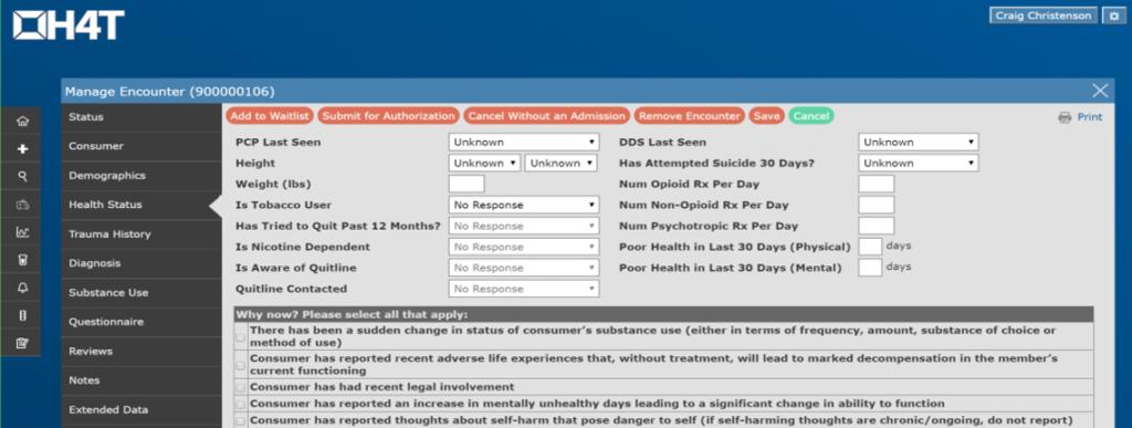 Encounter Management Screen